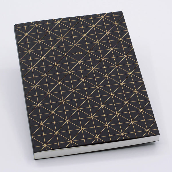 Minimalist Notebook - Black/Gold Grids