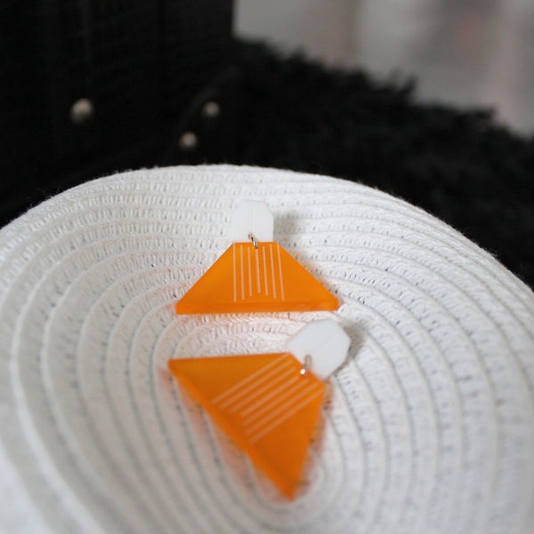 Triangular Earrings (Orange)