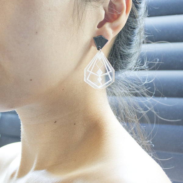 Geometric Shape Earrings (Clear/Black)