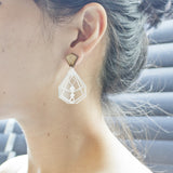 Geometric Shape Earrings (Clear/Wood-M)