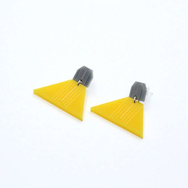 Triangular Earrings (Grey/Yellow)