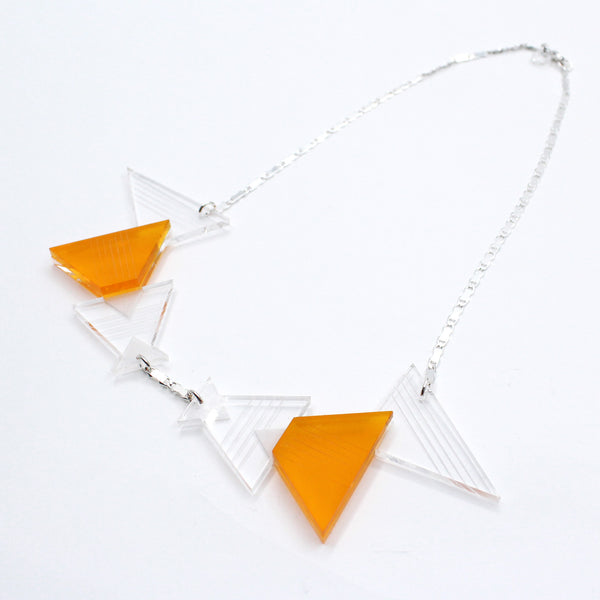 Geometric Plexiglass Necklace (Orange)