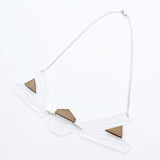Asymmetric Necklace (Clear/Wood)