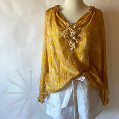 DIY boho shirt with silk and lace