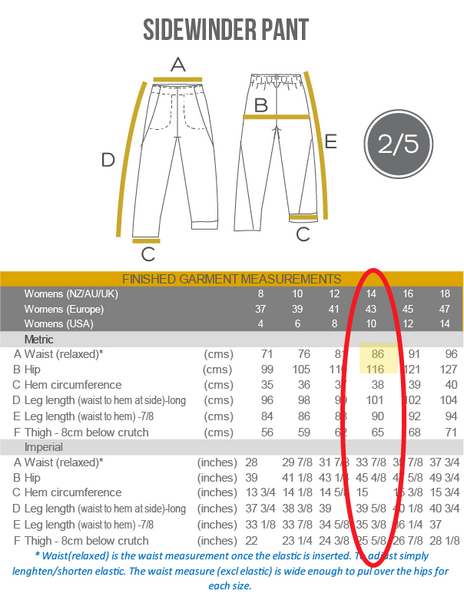 How to choose your size - Sidewinder pants