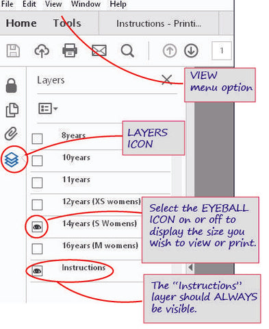 Print your size using Adobe Reader Layers Feature