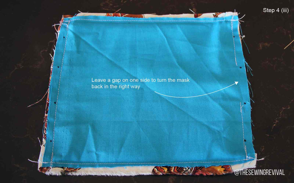 How to sew a face mask - step 4iii