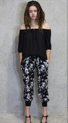 Hummingbird pant (full length with stretch hem) and Not the cold shoulder top