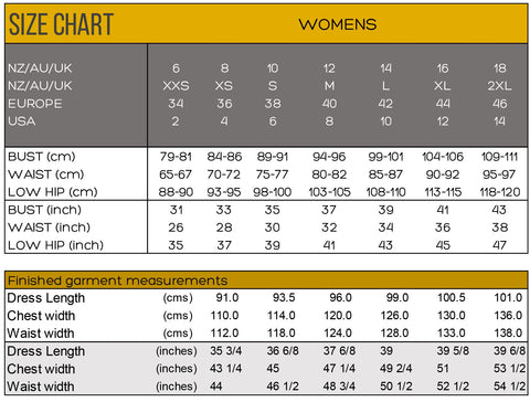 Size Chart Tui Dress