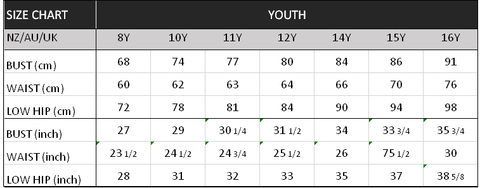 Size Chart Youth