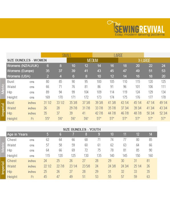 Size Chart - The Sewing Revival
