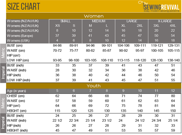 Size Chart - Womens and Youth