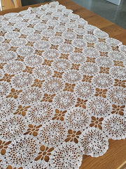 Upcycling a crochet table cloth