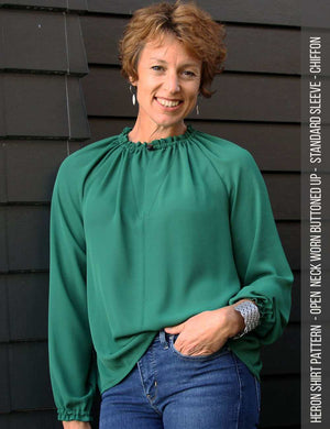 Heron shirt sewing pattern - women - button neck