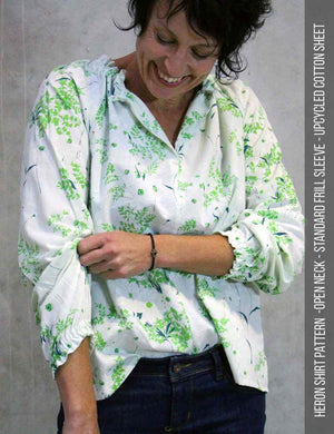 Heron shirt PDF sewing pattern close up view