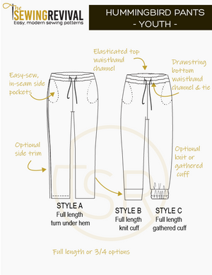 Youth track pants sewing pattern