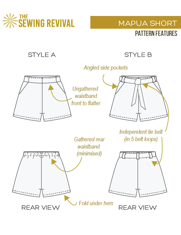 Mapua short PDF sewing pattern