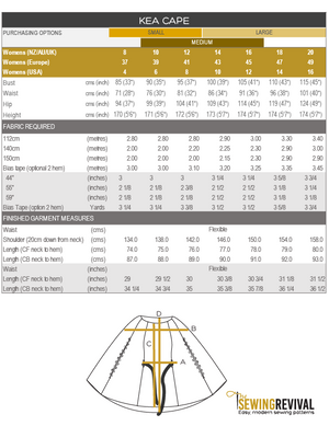 Kea Cape Finished measures chart