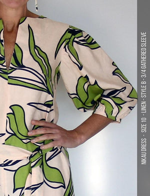 Nikau dress PDF sewing pattern - style b sleeves - close up