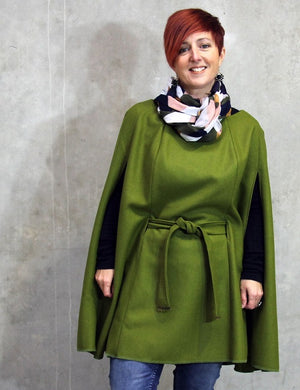 Womens Kea Cape PDF sewing pattern in green felted wool