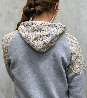 Hummingbird Hoody embellished with a lace doily