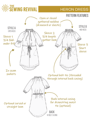 Heron dress printable pattern features