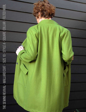 Easy coat sewing pattern - back view - green wool