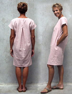 Stitchbird dress PDF sewing pattern -pink linen