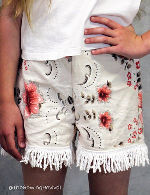 Easy kids short sewing pattern - ex an old cotton table cloth