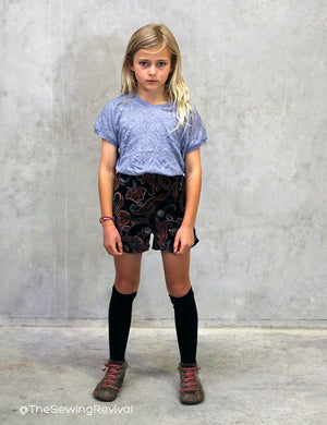 Kids shorts PDF sewing pattern - sewn from corduroy
