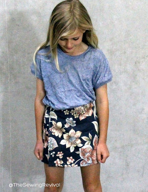 Skort PDF sewing pattern - sewn from an upcyled curtain