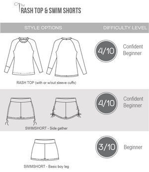 Kids swimwear sewing pattern - style options