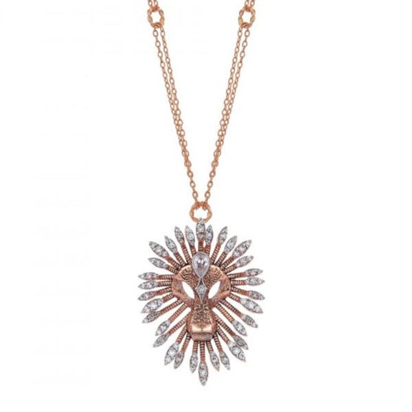 14K Rose Gold Lion Drop Solitaire Necklace | Kismet by Milka | Fine Jewelry | Necklace