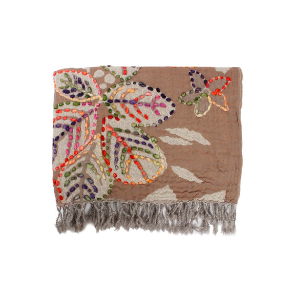 Multi Color Leaves Brown Shawl | Boom & Mellow | Fashion Accessories | Shawl