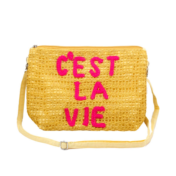 C'es la vie mustard clutch bag