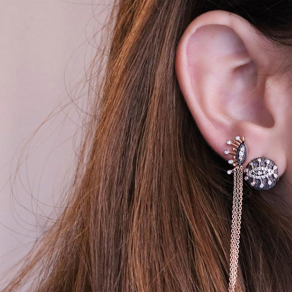 14k rose gold eye eternal vission tassel earring