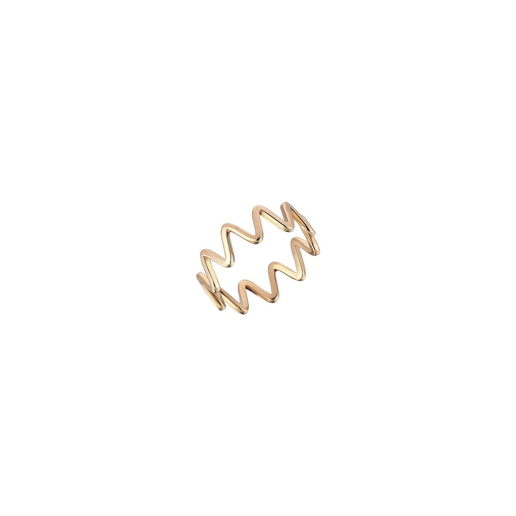14K Rose Gold Zigzag Ring | Kismet by Milka | Fine Jewelry Rings