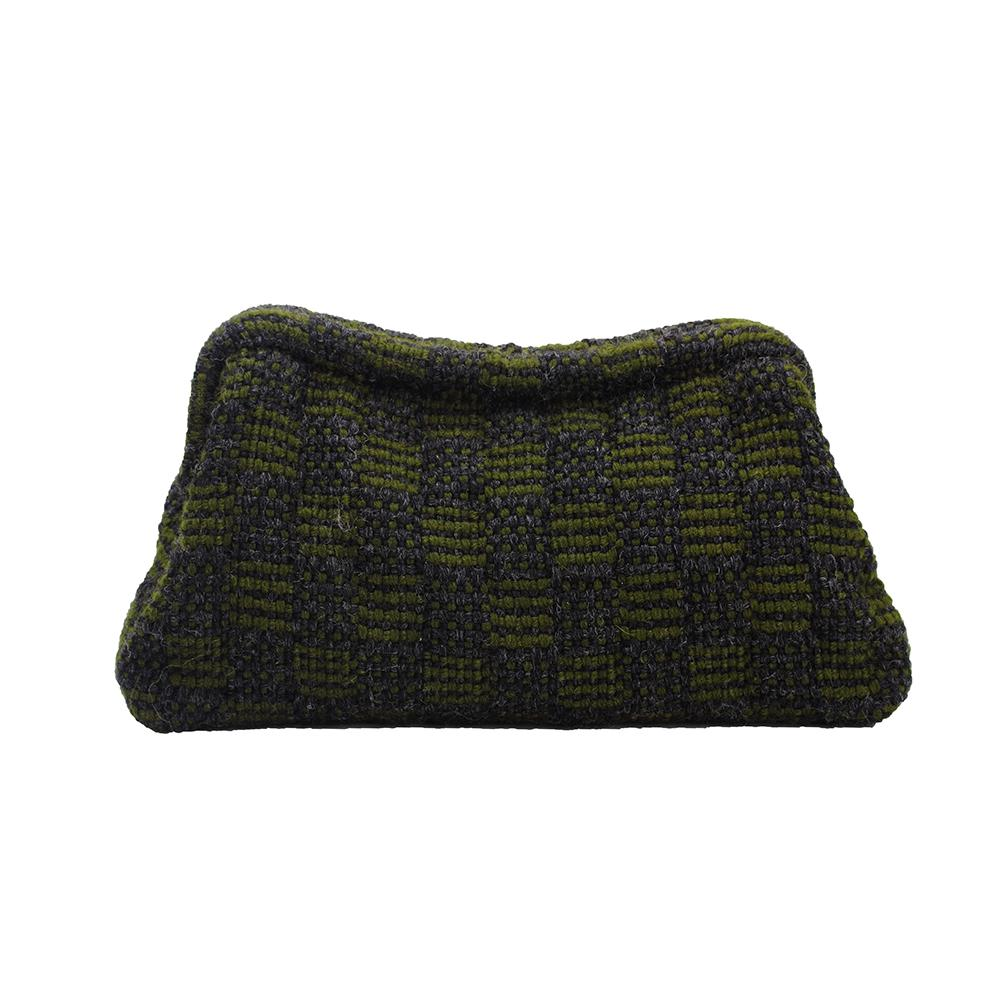Maria La Rosa Clutch Bag, Boom and Mellow Dubai, Ladies bag, vague, small, handwoven, fabric, 100% wool, lining 100% viscose