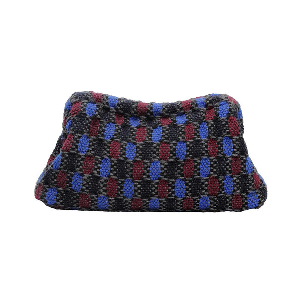 Maria La Rosa Clutch Bag, Boom and Mellow Dubai Ladies bag, vague, small, handwoven, fabric, 100% wool,  lining 100% viscose