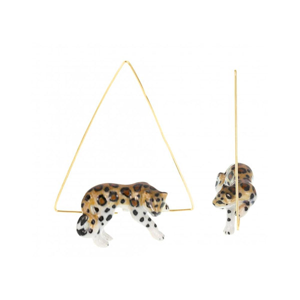 Lying Leopard Triangl Earrings |Nach Bijoux |Fashion Accessories