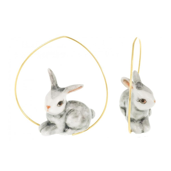 Grey Rabbit Earrings |Nach Bijoux |Fashion Accessories