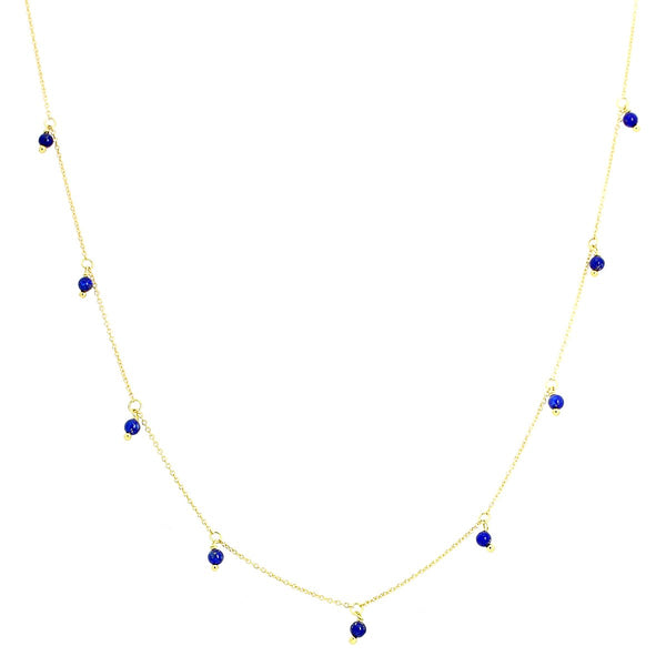 18K Gold Tiny Lapis Beads Necklace | Ishq | Fine Jewelry | Boom and Mellow Dubai