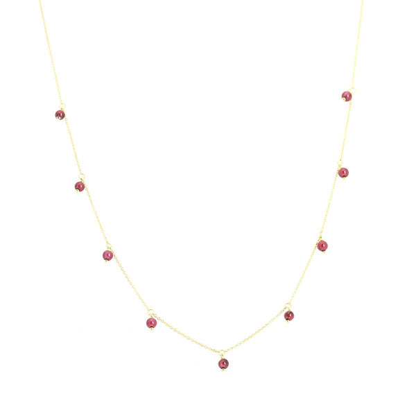 18K Gold Tiny Ruby Beads Necklace | Ishq | Fine Jewelry | Boom and Mellow Dubai