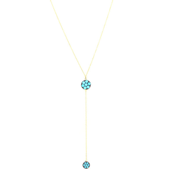18K Gold Turquiose Y Necklace | Ishq | Fine Jewelry | Boom and Mellow Dubai