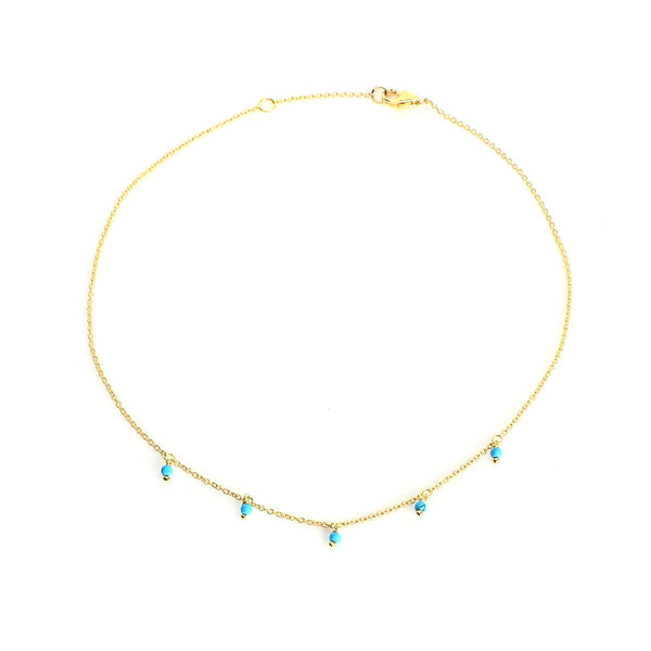 18K Gold Tiny Turquiose Beads Anklet | Ishq | Fine Jewelry | Boom and Mellow Dubai