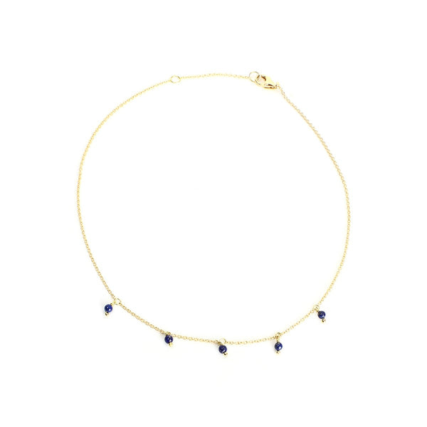 18K Gold Tiny Lapis Beads Anklet | Ishq | Fine Jewelry | Boom and Mellow Dubai