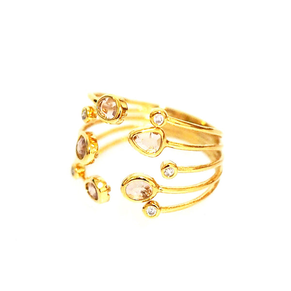 Multi Peach Stone  Ring | Tai | Fashion Accessories