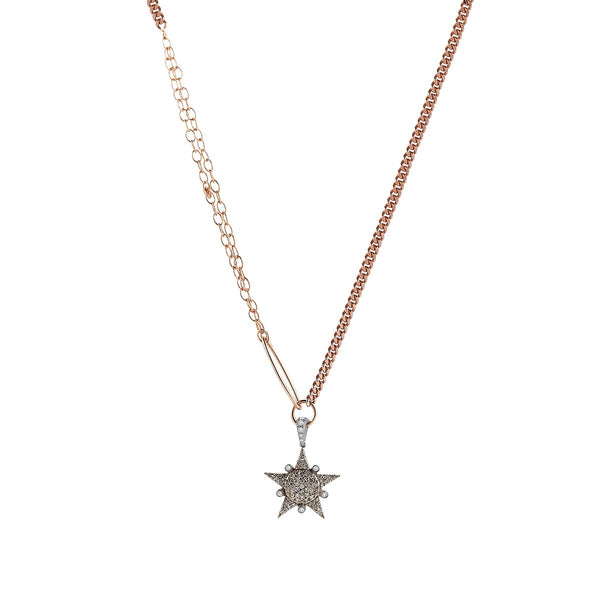 14K Rose Gold Eclectic Solitaires Star Necklace | Kismet by Milka | Fine Jewelry Necklace