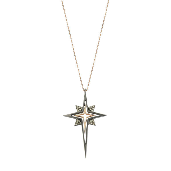 14K Rose Gold Black Star Necklace | Kismet by Milka | Fine Jewelry Necklace