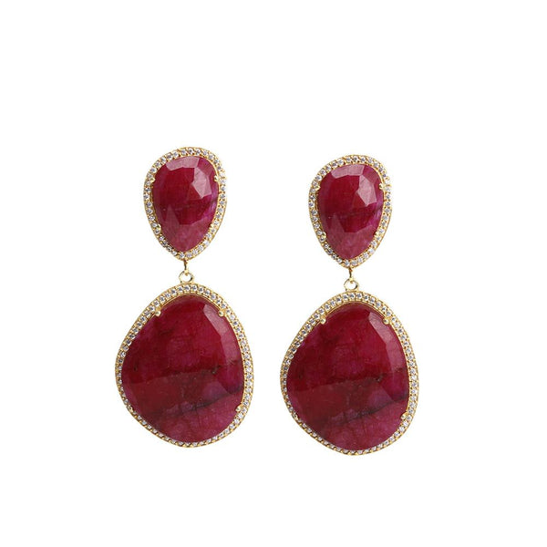 Ruby Double Stones Earrings | Susan Hanover | Fashion Accessories | Earrings